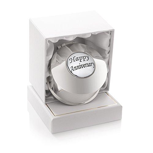 Pendientes pequeños de plata para aniversario de boda para mujer, chapados en plata, caja de joyería