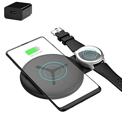 Cargador inalámbrico 2 en 1, almohadilla de carga inalámbrica para Samsung Galaxy Watch Active / Galaxy Buds / Galaxy Watch 42 mm / 46 mm / Gear S2 / S3 / S20 / IPhone 12 12 Pro Max 11 Xs Max / Xs