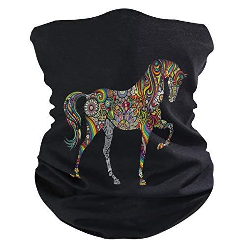 Alarge - Pañuelo para la cabeza, suave, tribal étnico, floral, para caballo, transpirable, para la cara, el polvo, la máscara de protección solar, polainas, pasamontañas para niños y niñas