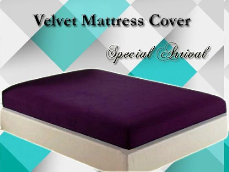Healthybusiness1 Luxurious Velvet Mattress Cover Predector 1 pc with Zipper Closure Gift Home Decor, Purple, Twin XL, 17  Height Mattress