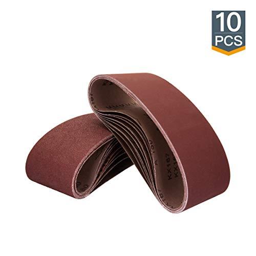 POWERTEC 110810 3 x 18 Inch Sanding Belts | 80 Grit Aluminum Oxide Sanding Belt | Premium Sandpaper for Portable Belt Sander – 10 Pack