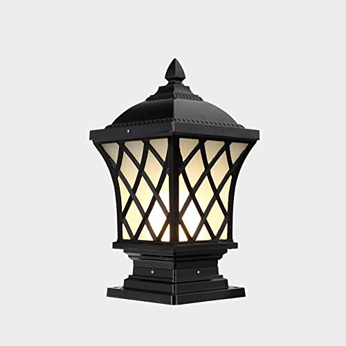 SILOLA Außenpodestlampen, Retro E27 Schwarzes Gartenlicht, Aluminium- und Glasrasen-Außenterrassen-Tischlampen, Säulenlampen, Landschaftsvilla Balkonpfosten-Wegwegbeleuchtung 23 * 19,5 * 44 cm