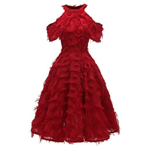 Toppeed - Vestido para mujer de noche corto, vestido sexy, vestido de color liso, pluma, con flecos, vestido de cóctel o fiesta de boda Vin Rouge3 XL