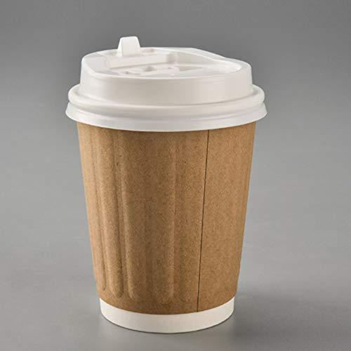 NIUPAN 50 stks Dikke dubbellaags wegwerp melk thee koffiekopje kraftpapier anti brandwonden hete drank afternoon tea pakket cup met deksel | Wegwerp Bekers