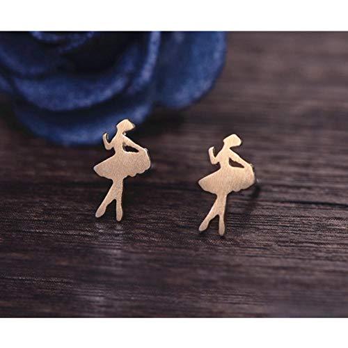 Empty Orecchini a Forma di Ballerino Classico Orecchini Color Oro Argento Gioielli Moda Orecchini in Metallo Regalo-Colore Oro