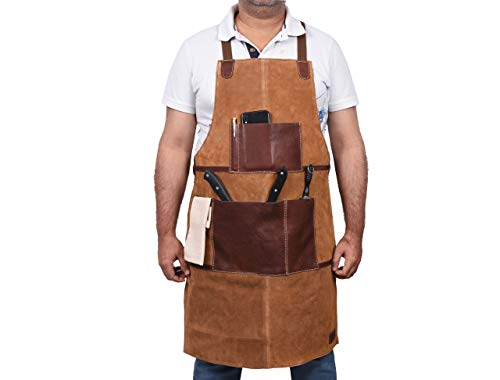 One Size Fits Utility Apron | Adjustable Cross-Back Straps | Multi-Use Shop Apron With Tool Pockets
