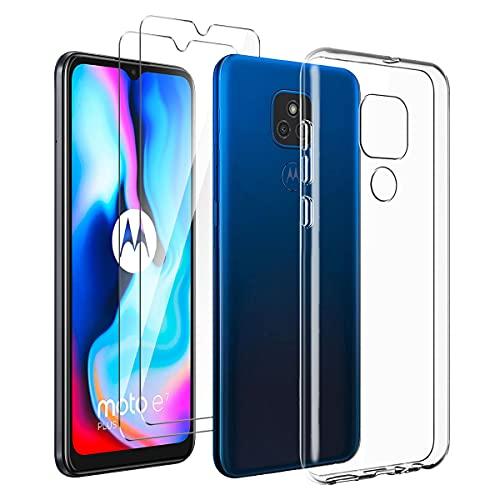 LYZXMY Hülle für Motorola Moto E7 Plus + [2 Stück] Panzerglas Schutzfolie - Transparent Weich Silikon Schutzhülle Flexibel TPU Tasche Hülle für Motorola Moto E7 Plus (6.5