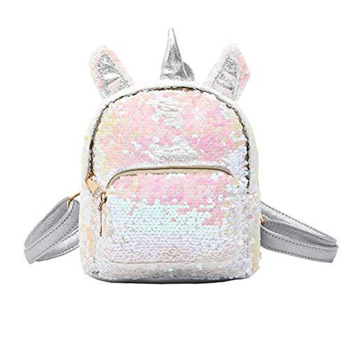 TENDYCOCO Backpack Sequins Unicorn Schoolbag Mini Cute Glitter College Bookbag for Women Girls - Silver