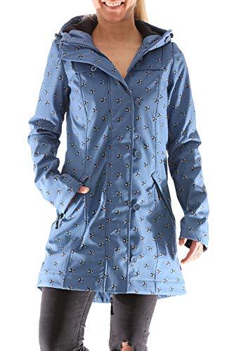 Blutsgeschwister Wild Weather Long Anorak Damen Jacke Mantel, Größe:L, Farbe:Blau (Wonder Wings)