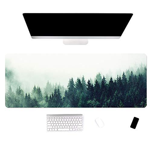 Alfombrilla de ratón de gran tamaño Cojín de mesa con diseño de paisaje forestal de goma Almohadilla de teclado de computadora antideslizante lavable 900x400x3mm