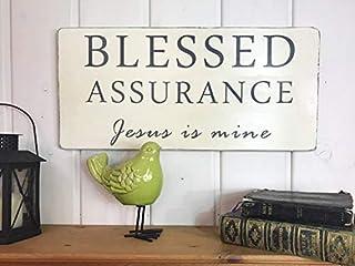 Brooer2ick Cartel rústico de Jesús es el mío con Texto en inglés Blessed Assurance Jesus is Mine, decoración para el hogar, decoración de Pared, letreros y Placas de jardín