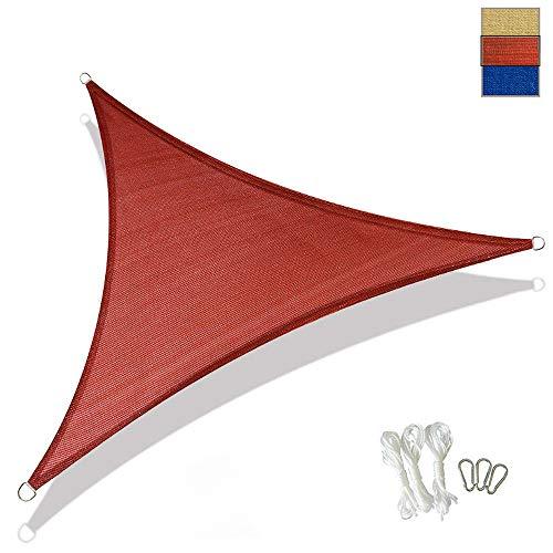 XYNH Voile d'ombrage triangulaire en pergola pour pare-soleil résistant et stable, rouge, 3 x 3 x 3-m (10 x 10 x 10-ft)