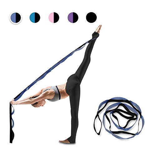 Gold Armour Yoga Strap, Multi-Loop Strap, 12 Loops Yoga Stretch Strap, Nonelastic Stretch Strap for Physical Therapy, Pilates, Dance and Gymnastics with Carry Bag (Blue)