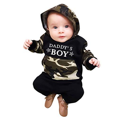 Sayla Neugeborenes Kinder Baby Jungen Daddy's Boy mit Kapuze Pullover Sweatshirt T-Shirt Tops mit Tasche + Camouflage Hosen Kleidung Outfits, Zweiteilig Anzüge Bekledidungsset 0-3 Jahre alt