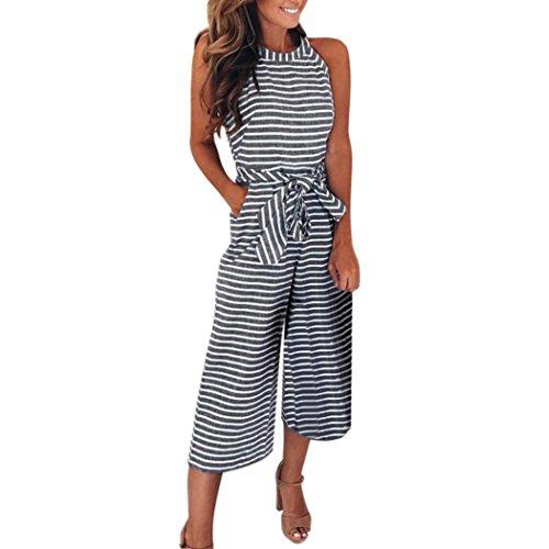 VEMOW Elegante Damen-Frauen-Sleeveless Gestreifter Overall-beiläufige tägliche Geschäfts-Partei Clubwear breite Bein-Hosen-Ausstattung(Grau, 48 DE/XL CN)