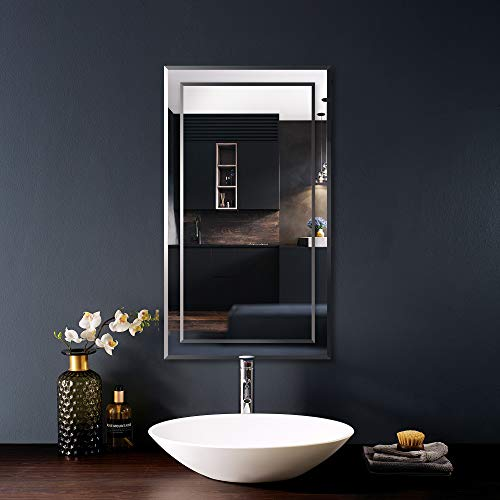 """FRALIMK Mirror on Mirror Rectangular Wall Mirror Beveled Edge Polished Frameless Rectangle Bathroom Wall Mirror, Decorative Wall Mirrors for Entryway, Living Rooms and Bedrooms, 15.75"""" x 27.56"""""""