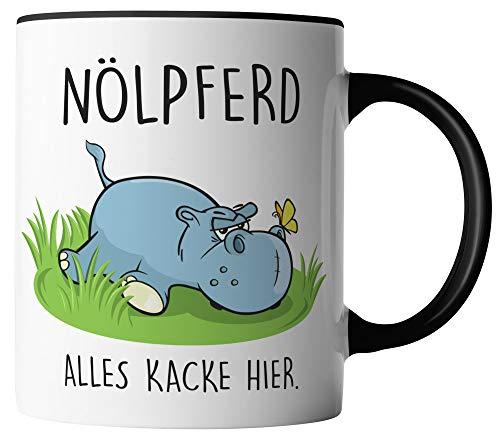 vanVerden Tasse - Is doch alles scheisse hier - Nölpferd - beidseitig Bedruckt - Geschenk Idee Kaffeetasse mit Spruch, Tassenfarbe:Weiß/Schwarz