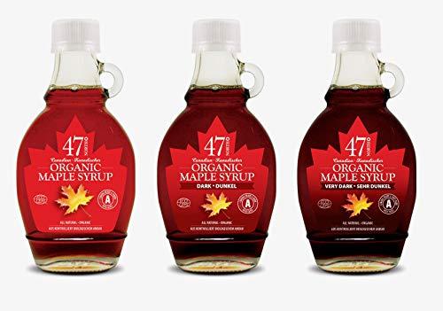 47 North Troika Kanadischer Bio Ahornsirup, Single Source, je 1 Flasche Amber, Dark & Very Dark, 3x250g