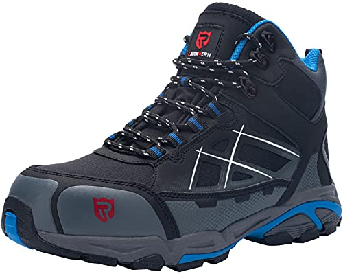 LARNMERN Zapatos Seguridad con Punta de Acero para Hombre Mujer Zapatillas Seguridad Ligeras (43.5 Azul)