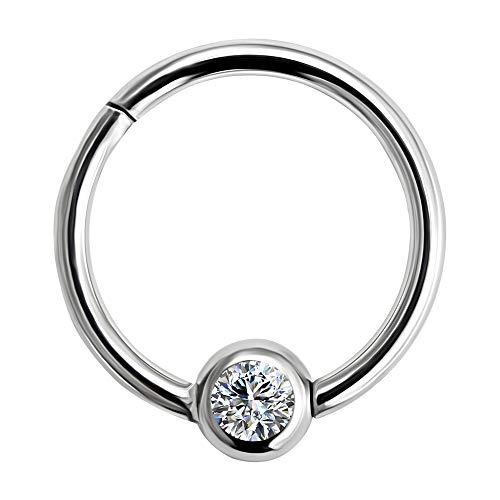 16 Gauge - 12MM Durchmesser 316L Chirurgenstahl Clicker klappbar Bead Ring mit Kristall Stein Piercing Schmuck
