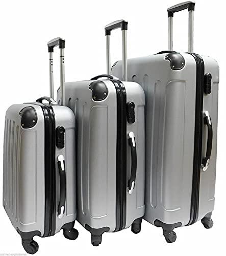 QIXIAOCYB Maleta de 4 ruedas con carcasa rígida para maletas, maletas, ruedas y cabina, color plateado (color: juego de 3)