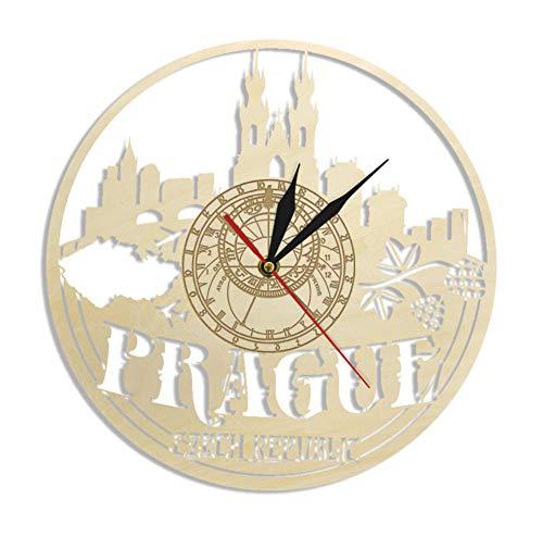 DFERT Reloj De Pared De Madera con Horizonte De Praga con Paisaje Urbano Checo, Decoración De Pared para Inauguración De La Casa, Regalos De Turismo, Reloj De Pared Astronómico