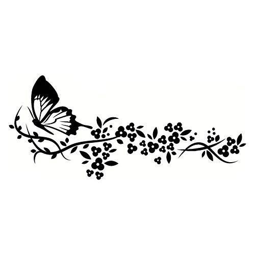 PMSMT 29,2 * 12,9 CM calcomanías voladoras de Mariposa patrón Lindo Accesorios de Puerta Pegatina de Coche Pegatina de Coche Genial Negro/Plata C9-1637