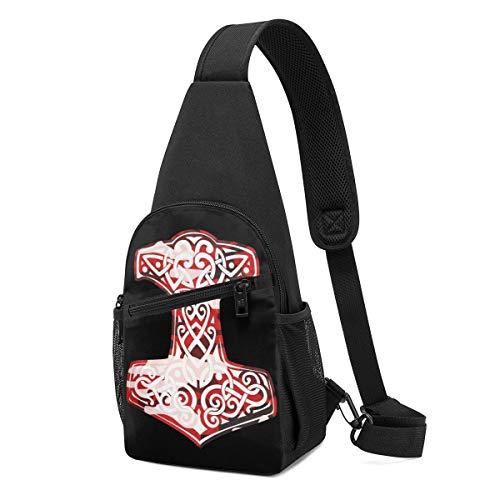 DEKIFNHG Viking Hammer Norse Sling Backpack Hiking Daypack Crossbody Shoulder Bag