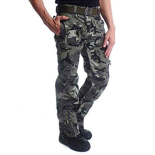 MAGCOMSEN Herren Hose Lang Regular Fit Hose Männer Camouflage Tactical Hose Große Seitentaschen BDU Hose Armee Hose Wanderhose Winter Hose für Jagd Fishing Camo L
