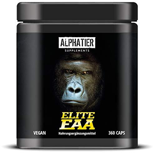 EAA CAPSULES - 360 Mega Capsules a 750mg - hoge dosering - 8 essentiële aminozuren - ALPHATIER Elite EAAs eiwitcapsules zonder magnesiumstearaat - Amino Fitness-supplement