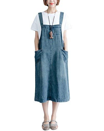Quge Donne Casuale Lungo Abito Salopette Jeans Overall Gonna Sciolto Vita Alta Tuta Denim Gonne Jeans Blu XL