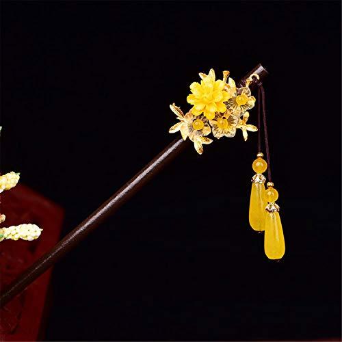 Personality classic retro hairpin hair pin ornaments princess Tassel accessories(yellow jade)
