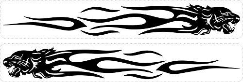 Akachafactory Set 2X Autocollant Sticker Voiture Moto Tuning JDM Tigre Tribal Noir