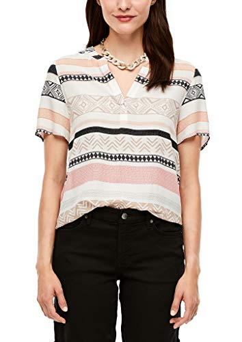 s.Oliver RED Label Bluse Kurzarm Offwhite AOP Stripes 42