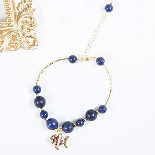 DFGHJH Feng Shui Buena Suerte Pulseras para Las Mujeres Lapis Naturales Lazuli 18K Real Chapado Peces Cristal los Pescados de la Riqueza Ajustable Las Mujeres Peace Peace Lucky Love