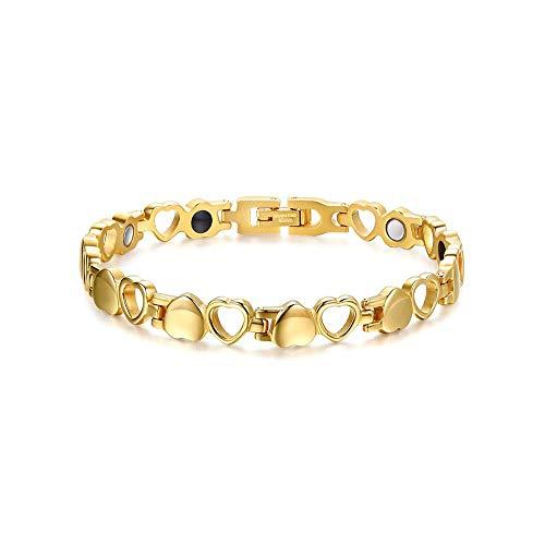Women's Magnetic Bracelet Love Heart Design Health Bracelet for Women Pain Relief for Arthritis Gift Gold