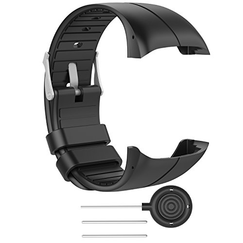 RuenTech Bands for Polar M400 / M430 Watch Strap Replacement Soft Silicone Wristband Sports Band for Polar M400 and M430 GPS Smart Sports Watch-Black M(5.5-8.0)