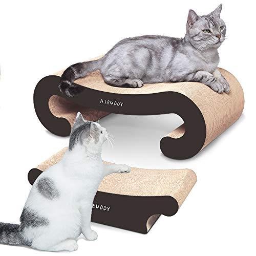 Aibuddy - Tiragraffi per Gatti 2 in 1, con Erba gatta, Cartone Resistente e Costruzione (55 x 22 x 19 cm, 44 x 22 x 13,5 cm)