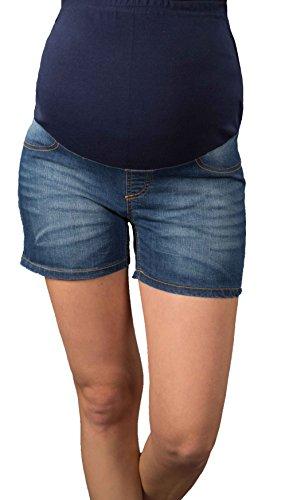 Mija Arts Kurze Jeans Umstandsshorts/Umstandshose mit Bauchband für Sommer 9037 (34, Dark wash)