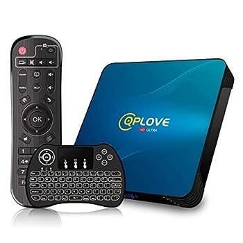 Android TV Box 10.0 QPLOVE Q8 TV Box【4GB 64GB】 RK3318 Quad Cord 64Bits CPU Support 2.4G/5G Dual WiFi BT 4.0 USB 3.0 100M LAN 3D 4K Smart TV Box with Wireless Keyboard