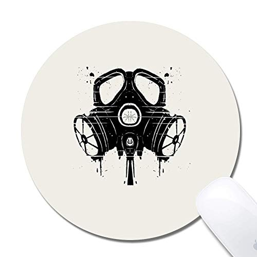 Computer Gasmaske Zeichnung Runde Mauspad (7,8x7,8 Zoll), bedrucktes Gummi Schreibtisch Zubehör Mausmatte