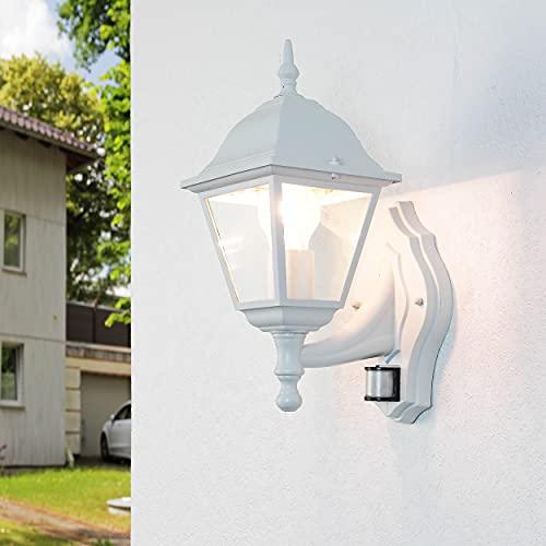 Applique d'extérieur sensationnelle Tirol avec détecteur de mouvement réglable en forme de lanterne dans un style rustique en blanc IP44 E27
