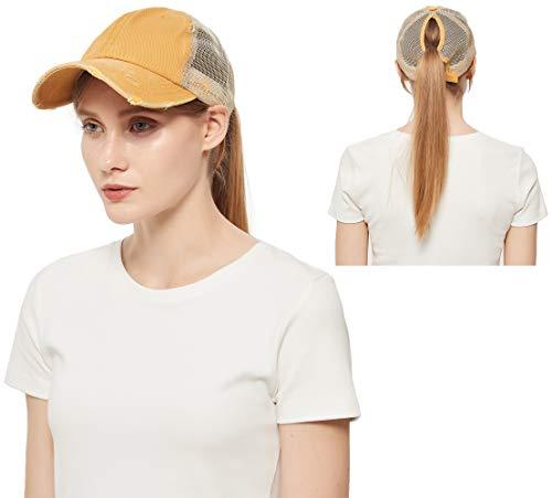 Sombreros de béisbol clásico para mujer con diseño de cola de caballo, gorra de béisbol ajustable, gorra de béisbol con malla trasera, Amarillo, Talla única