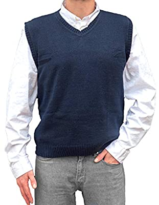 TINKUY PERU - Peruvian Alpaca Wool Mens Relax Fit Knit V-Neck Pullover Sweater Gilet Vest (Large, Coastal) by