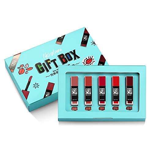 5 couleurs brillant à lèvres ensemble, 5PCS / Pack lèvres teintées brillant lèvres durables Set boîte-cadeau étanche de rouge à lèvres velouté cadeau pour femme, petite amie