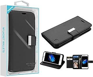 Case+Stylus Fits Apple iPhone 7 Plus/8 Plus Mybat 3-Layer Purse/Clutch with Extra Card Slots PU Leather MyJacket Wallet - Black/Black