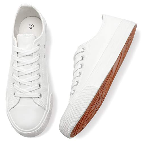 Adokoo Women's Fashion Sneakers PU Leather Casual Shoes(US11,Off White