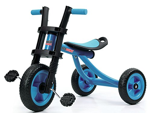 High Bounce Kids Tricycle - Extra Tall 3 Wheel Kids Trike, for Toddlers and Kids Ages 3-6 Adjustable Seat Tricycles, Soft Rubber Handle (Blue)