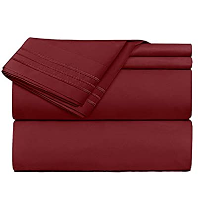 Clara Clark Premier 1800 Series 4 Piece Sheet Set Deep Pocket Brushed Microfiber, Wrinkle, Fade & Stain Resistant, Queen Size, Burgundy Red