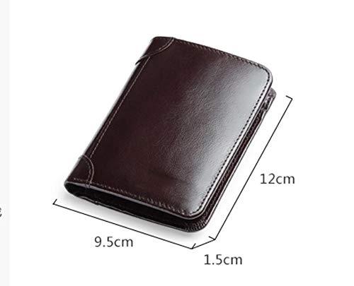 EEKUY Herren Short Wallet, Leder Portable Wallet Kartenhalter für Bank Card Photo Cash 4.7X3.7X0.6,A